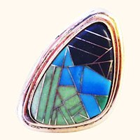 Turquoise, Lapis, Sterling Silver Large Inlay Inlaid Ring