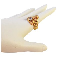 14K Fortune Teller Figural Ring with Moonstone Sz 8 1/2