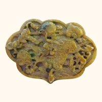 Large Jade Pendant Carved Kilin or Qilin in Ruyi Shape
