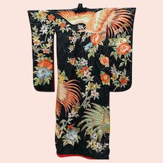 Kimono Japanese Majestic Elaborately Embroidered Ceremonial Wedding Kimono