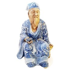 Signed Antique Japanese  Kutani Scholar Figure with Scroll Blue and White