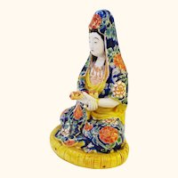 Chinese Polychrome Qwan Yin Figure with Scroll Kwan Yin