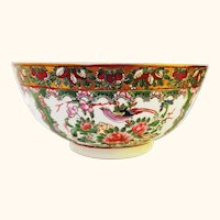 "Deep 10"" Rose Canton Chinese Bowl"