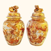 Exceptional Guardian Lion Foo Dog Lidded Pair of Japanese Japan Satsuma Jars