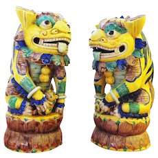 Large 14 1/2 Inch Pair of Chinese Foo Dogs Famille Jaune