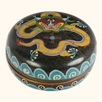 8 Inch Diameter Chinese Cloisonne Dragon Decorated Box - HUGE!