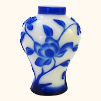 Very Pretty Antique Cobalt Blue Cameo Peking Glass Vase