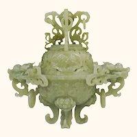 Large 8 Inch Carved Jade Censer Dragons Antique