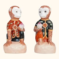 Adorable Vintage Pair of Monkey Figures with Peach