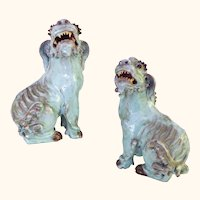 Pair of Turquoise Glazed Chinese Republic Period Shiwan Foo Dogs Fu Lions
