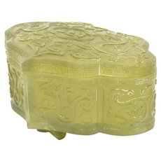 Rare Carved Jade Box in Ruyi Shape