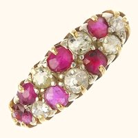 Dainty 18K Ruby and Diamond Ring Size 8 1/2