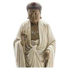 "Chinese Dark Skinned Buddha Very Tall 19"" Beautifully Robed Late Republic Period"