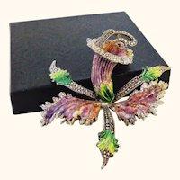 Huge Cattleya Orchid Enamel on 800 Silver Pin Brooch