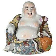 "Large Happy Buddha Beautiful Colors 14"" Signed"