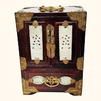 Large Rosewood and Jade Chinese Jewelry Box