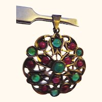 Sterling Silver Emerald and Ruby Pendant