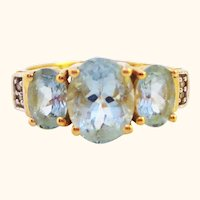 14K Aquamarine and Diamond Classic 3 Stone Ring Sz 7 1/4