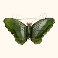 14K Jade and Ruby Butterfly Pin Large and Gorgeous