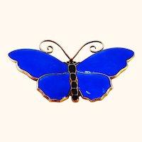 David Andersen Large Cobalt Blue Butterfly Pin