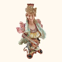 """Continental Majolica Bust 16"""" of Lady with Mandolin"""