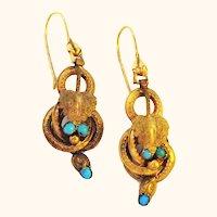14K Gold Etruscan Revival Antique Dangle Earrings Knot Design