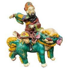 Chinese Roof Tile Warrior Riding Foo Dog