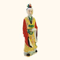 Chinese Porcelain Scholar Standing with Scroll