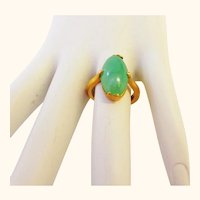 Fine Apple Jade and 18K Gold Ring Size 5 1/2