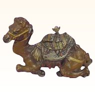 Antique Cold Painted Metal Figural Camel Inkwell Large Size
