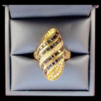 18K Diamond & Blue Sapphire Ring