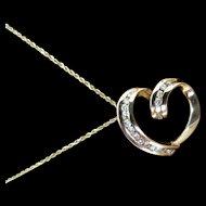 14K Yellow Gold & Diamond Heart Shaped Pendant & Chain