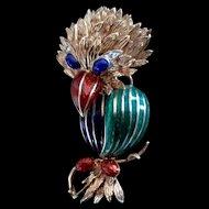 Whimsical 18K Enameled Bird Pin