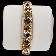 Elegant 14K Yellow Gold Bracelet set with Colored Gemstones