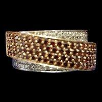 BJC 14K White & Rose Gold Ring with Brown & White Diamonds