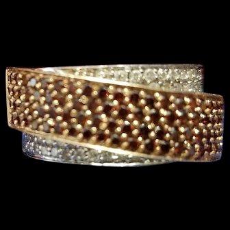 BJC 14K White & Rose Gold Ring with Red & White Diamonds