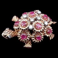 18K Yellow Gold Ruby & Diamond Turtle Brooch