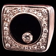 14K Gold Men's Diamond & Onyx Ring with Moveable Center Diamond