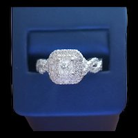 14K Princess Cut Diamond and Sapphire Ring