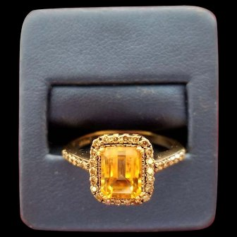 14K Levian Citrine & Diamond Ring