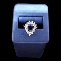 14K Diamond & Sapphire Teardrop Ring