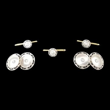 Mother of Pear & Diamond Cuff Link Set
