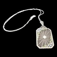 Deco Style Enameled, Diamond and Crystal Pendant