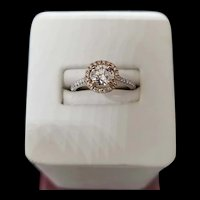 14K White and Rose Gold Halo Diamond Ring