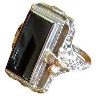 14K White Gold Art Deco Ring with Black Onyx Stone