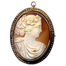 Large 10K Rose Gold Cameo Pin/Pendant