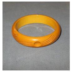 Carved Caramel Bakelite Bangle Bracelet