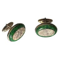 Sterling Silver & Green Art Glass DaVinci Cuff Links
