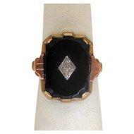 10K Gold Black Onyx Ring with Diamond