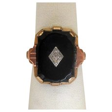 10K Gold Black Onyx Ring with Diamond